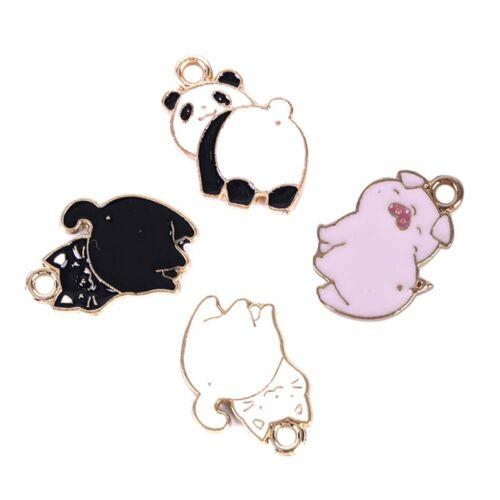 10Pcs//Lot Enamel Alloy Pig Cat Panda Charms Pendants DIY Jewelry Findings Crafts