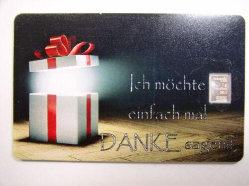 Silberbarren , Valcambi  , Geschenkkarte , Motiv : Danke , # 18