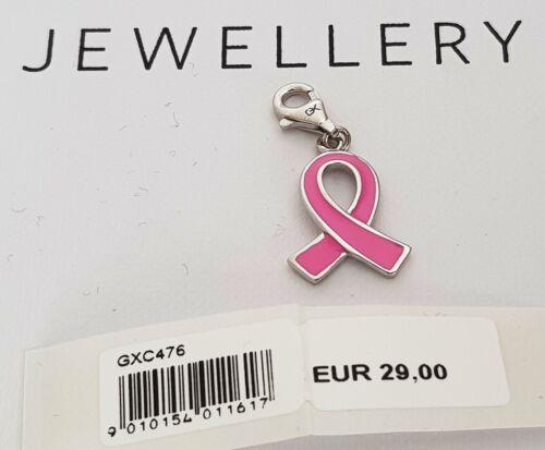 GOOIX Silber 925 Damen Charm Charms Anhänger Schleife Band Pink Ribbon NEU 304