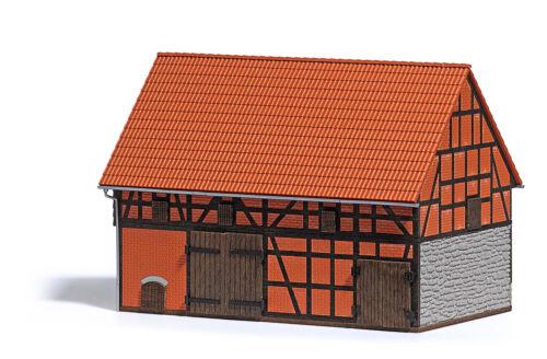 Busch 1506 Vierseithof Scheune mit kleinem Stall Echt Holz Spur H0 Neu//OVP