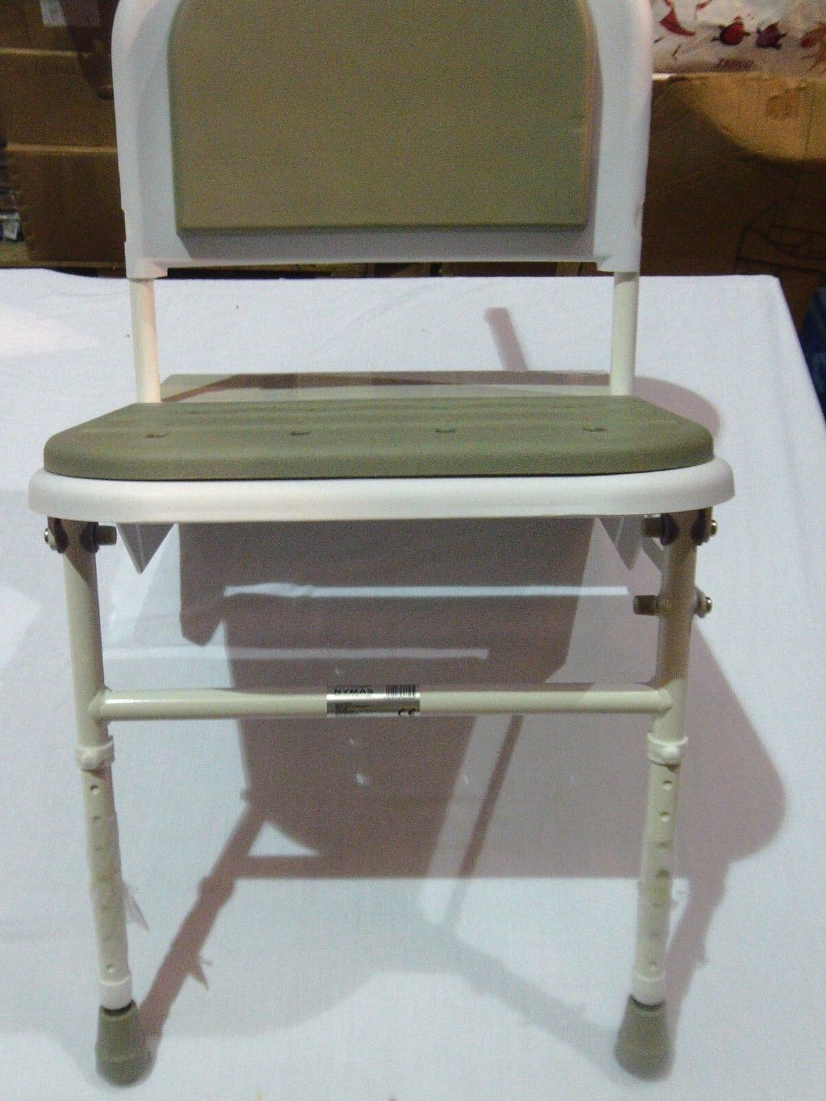 Nymas DOC M Compliant Folding Shower Seat blanc with gris Pads sb-085 gy