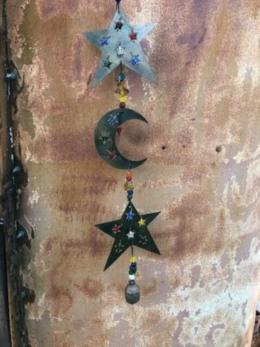 Embellished with Glass Beads /& Bells Vintage Metal Moon /& Stars Wind Chime