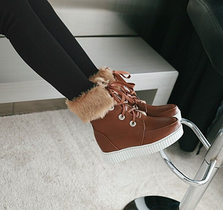Winter Ankle Boots Lace Up Synthetic Leather Warm Furry Hidden Heels Women Shoes