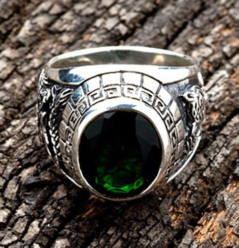 JAPANESE TIGER & DRAGON 925 STERLING SILVER MENS RING Sz 9.5 NEW EMERALD GREEN