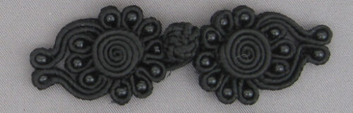 5 pairs beaded  frog fasteners closure button   Colour Black #9