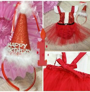 Image Is Loading Baby Girls First 1st Birthday Outfit Red Dress