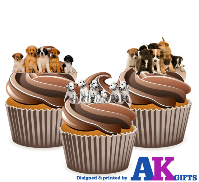 Precut Cute Dogs Puppy 12 Edible Cupcake Toppers Cake Decorations