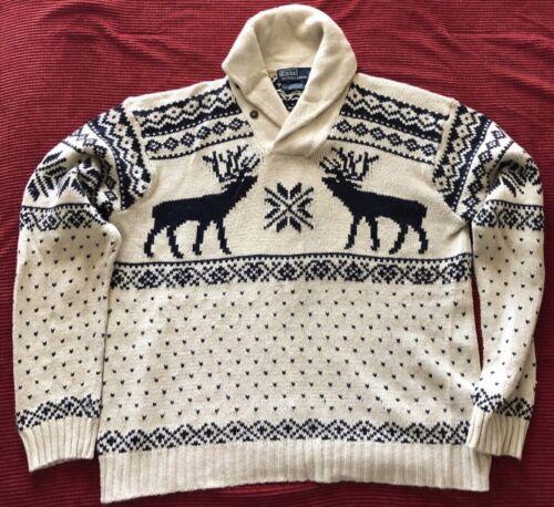 Polo Ralph Lauren Fair Isle Reindeer Sweater Shawl
