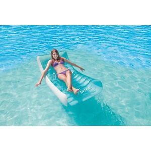 Swimming pool float inflatable water rocking lounge chair floating lounger raft ebay - Pool quadratisch ...