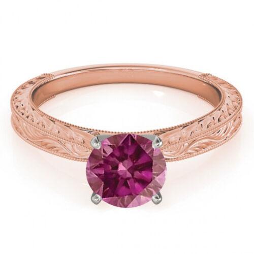 0.5 Ct Pink Purple HPHT Diamond Solitaire  Ring 14k RG Valentine Day Spl Sale