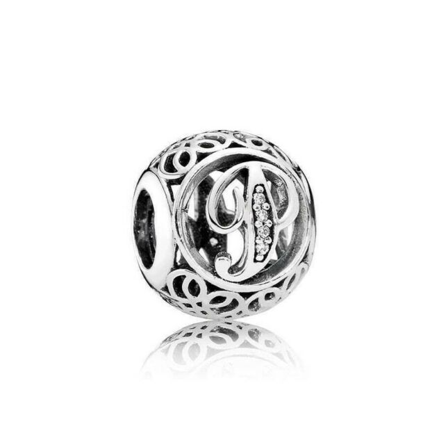 Authentic Pandora Silver Vintage P Clear Charm 791860