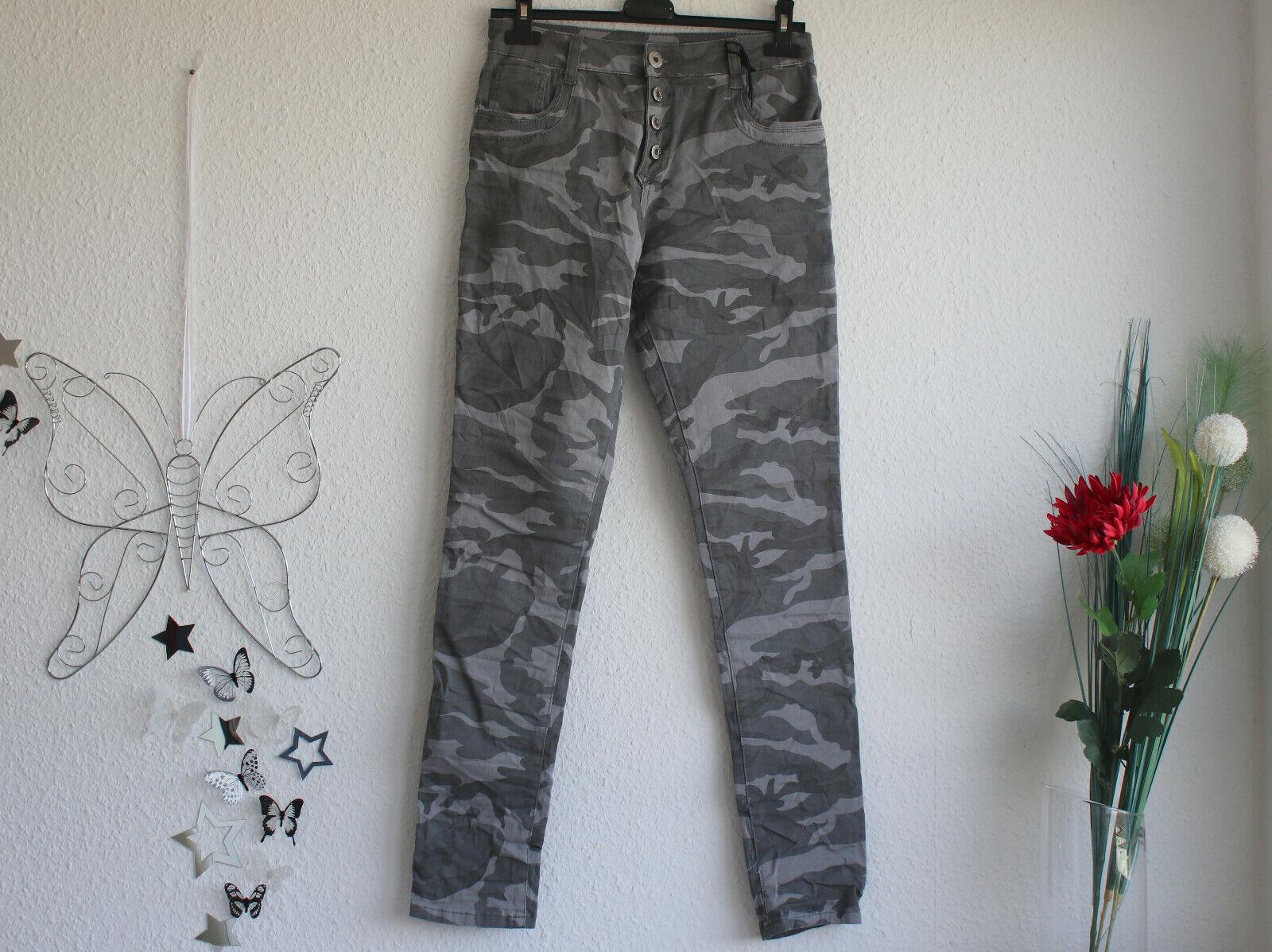 Donna Stretch Jeans a Sigaretta Pantaloni Grigio Mimetico Tg 38 40 42 46 48 a quadri Star