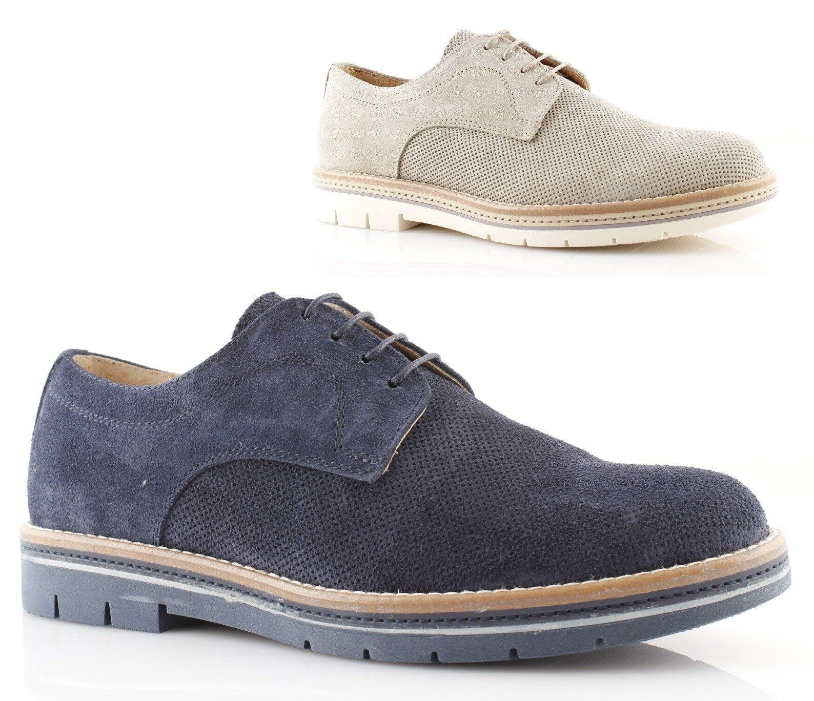 05c02aadf30200 Chaussures derby homme en daim en daim beige bleu été été été italien   New  Style,En Ligne   De Haute Sécurité 835888