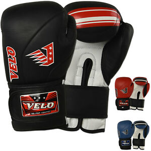 VELO-Leather-Boxing-Gloves-Kick-boxing-MMA-Sparring-Punch-Bag-Muay-Thai-Training
