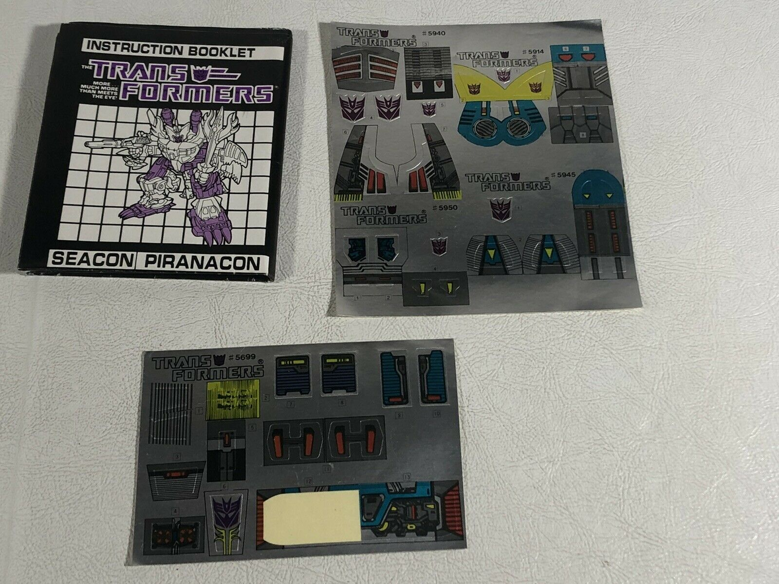 G1 Transformers Seacons Piranacon Gift Set Unused Sticker Sheet Instruction Book