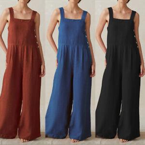 ZANZEA-Damenmode-Armellos-Overall-Jumpsuit-Weitem-Bein-Baumwolle-Hosen-Haremhose