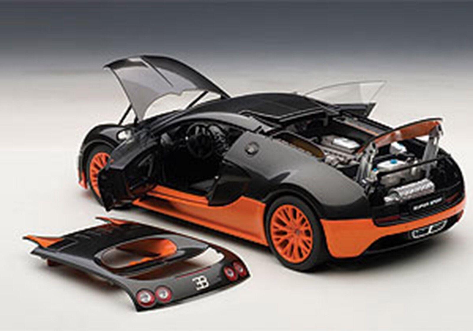 Autoart Bugatti Veyron Super Sport Carbón NegroNaranja Laterales  Raro