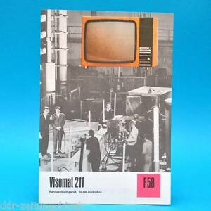 Fernsehtischgeraet-Visomat-211-DDR-1974-61-Roehre-Prospekt-Werbung-DEWAG-F58-L