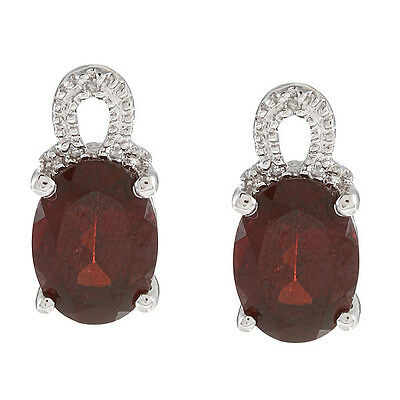 10k White Gold Oval Garnet and Pave Diamond Earrings (1/12 TDW)
