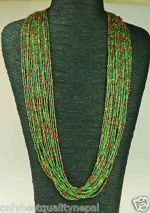 COLLANA INDIANO Verde Colorata Gioielli da Nepal la migliore vetro gioielli 113e
