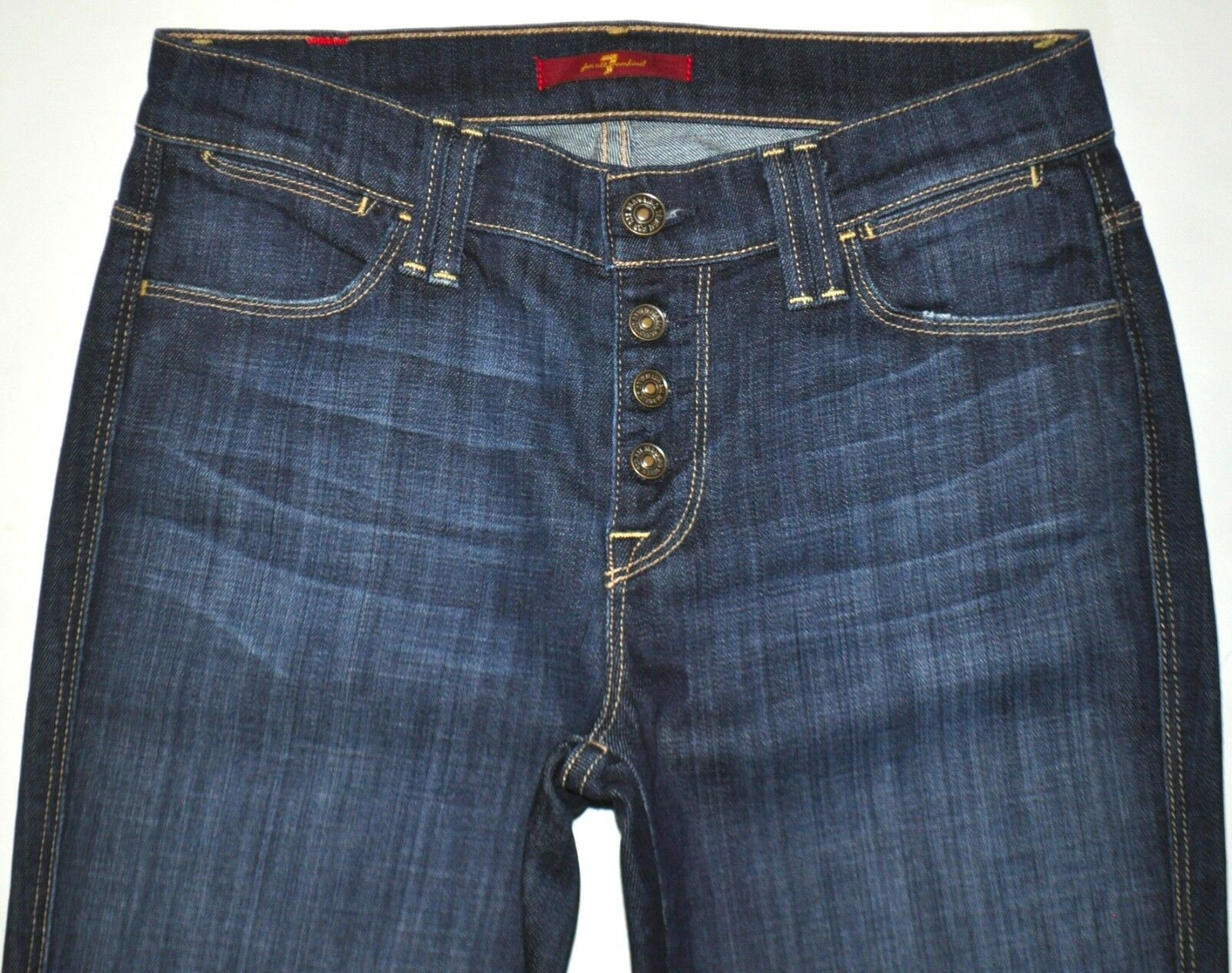 7 For All Mankind FAM Dark bluee Outer Button Fly Flare Jeans 25 X 30 Stretch EUC