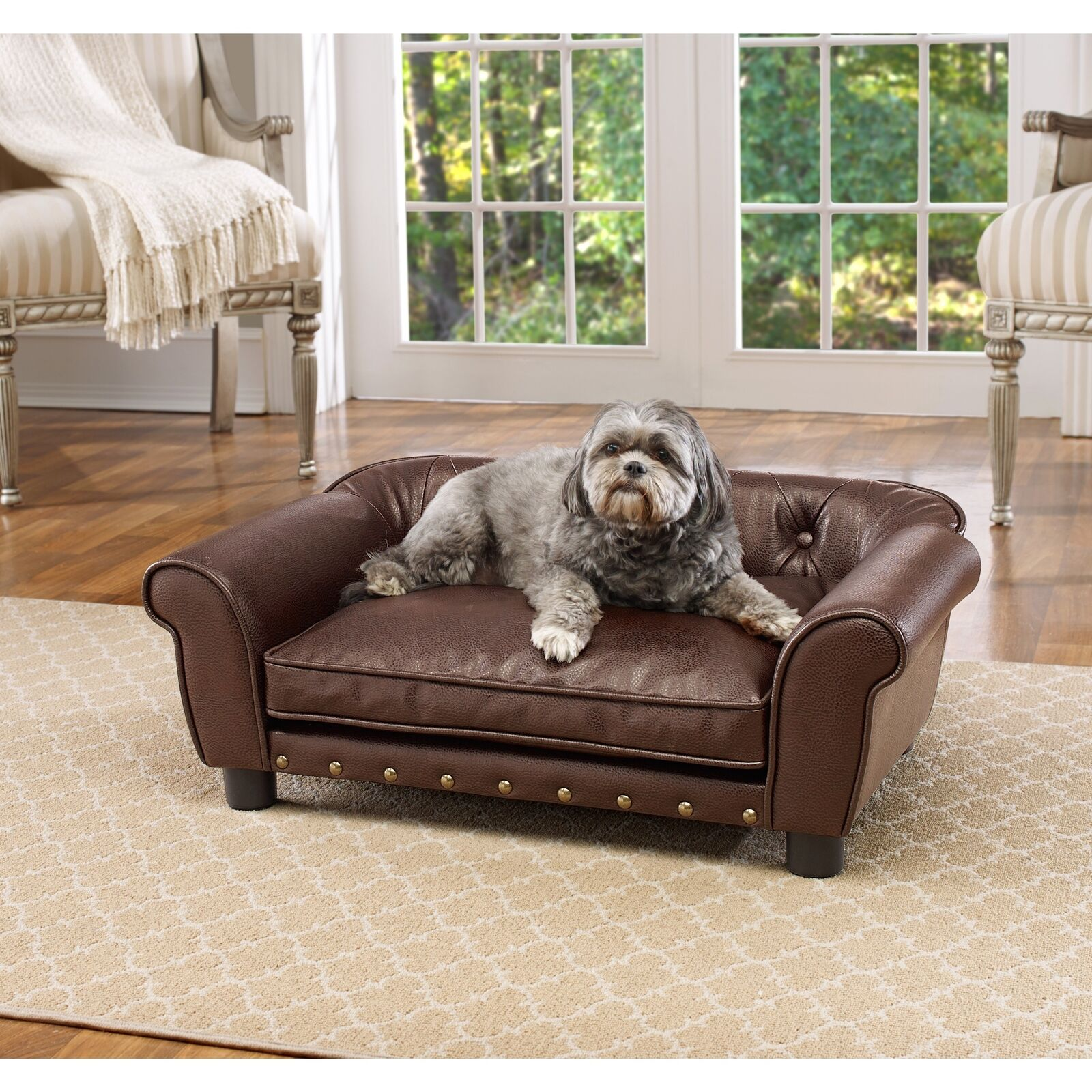 braun Faux Leather Tufted Pet Sofa Bed Dog Cat Sn le Pillow Top Sleep Couch