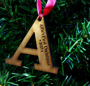Details About Personalised Childs First Christmas Tree Decoration Wooden Letter Gift Bauble