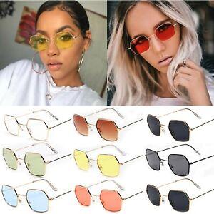 Retro-Style-Hexagon-Men-Women-Square-Sunglasses-Metal-Frame-Glasses-Eyewear