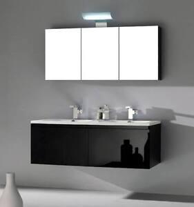 Mobile per Arredo Bagno da 120 nero con lavabo e specchio ...
