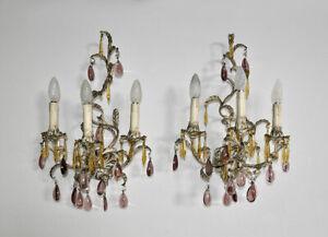 Coppia di appliques metallo pendenti vetro colorato shabby chic 2