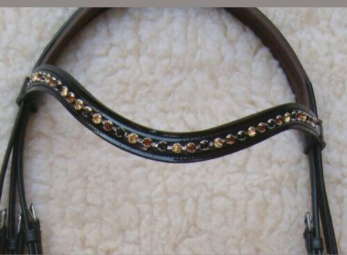 Adams-Tack Lct+Jet+Topaz Browband Patent Leather Drop Noseband Horse Bridle