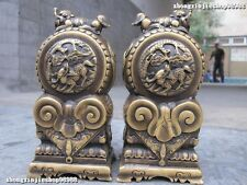China Pure Bronze gate piles front of  house in Fu Foo Dog Lion beast kylin
