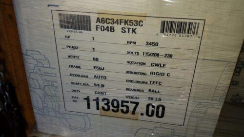 Leeson Electric Motor 113957.00 1 HP 3450 Rpm 1PH 115//208-230 V 56J Frame tefc