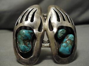 Folkloreschmuck Gutherzig Üppig Vintage Navajo Pfote Türkis Sterling Silber Armband Alt Manschetten Uhren & Schmuck
