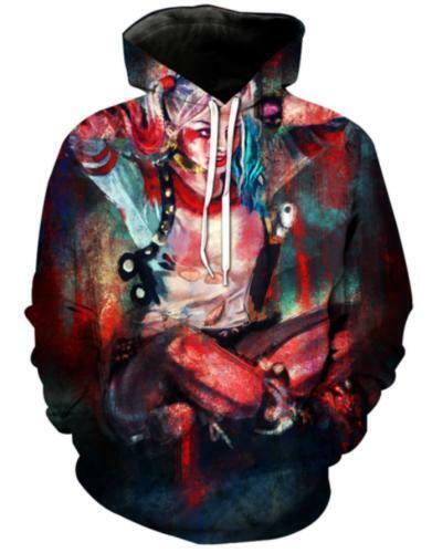 Men//Womens 3D Harley Quinn Joker Print  Hoodie Sweatshirt Pullover tops Jumper