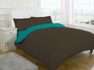 King Size 4 Piece Complete Set Reversible Teal Chocolate Simple