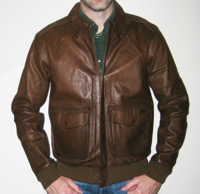 848479f9b Polo Ralph Lauren 6485 Mens Farrington Brown Leather Bomber Jacket XXL BHFO