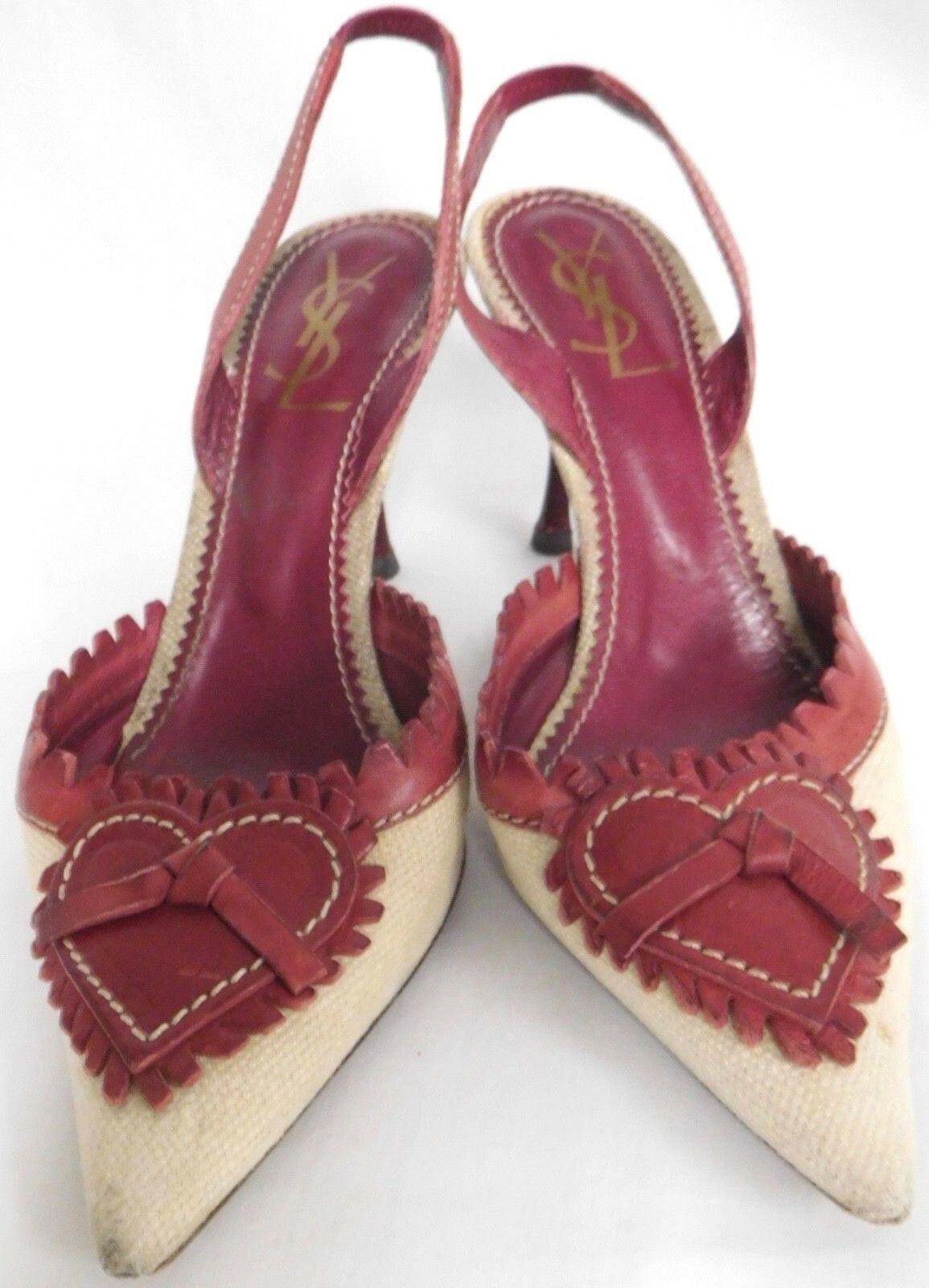 YSL RED LEATHER & TAN FABRIC VALENTINES HEART SLINGBACK PUMPS 3 3/4
