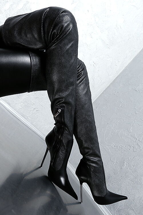 100% HAND MADE IN ITALY HIGH G72 HEEL STRETCH POINTY LANG STIEFEL Stiefel LEDER 36