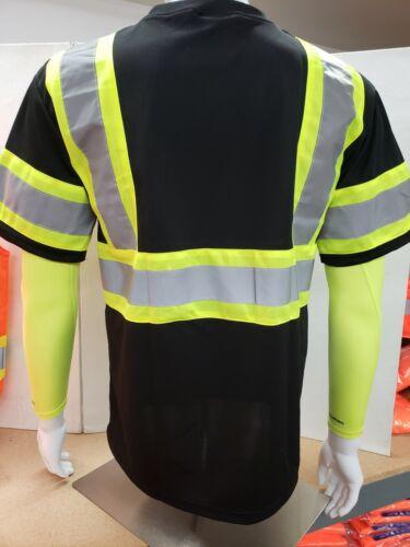 Black Hi Vis Shirt ANSI Class 1 Reflective Safety Short Sleeve Shirt