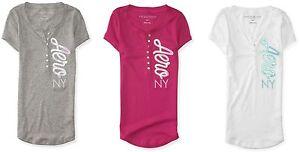 AERO-Aeropostale-Short-Sleeve-NY-Henley-Tee-T-Shirt-Top-S-M-L-XL-2XL-NEW