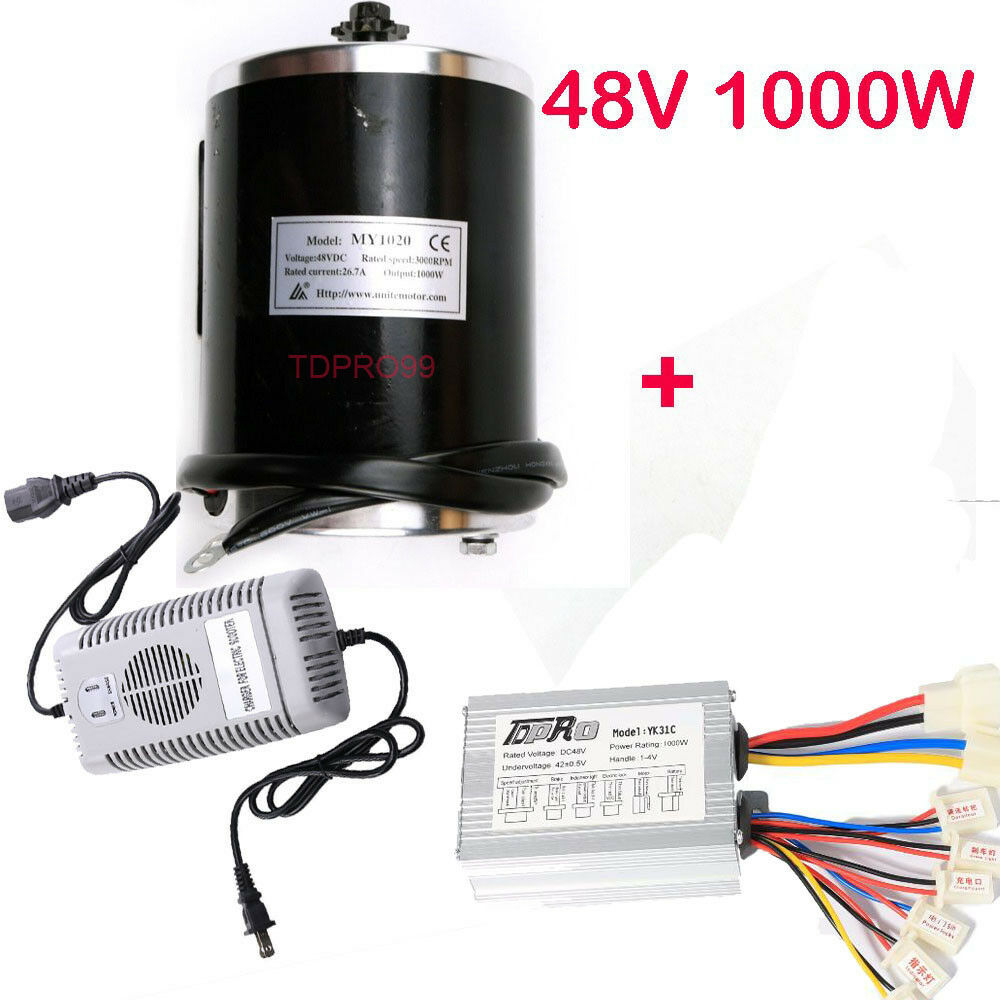 48V 1000W Brush Motor Speed Controller Charger for Electric Go Kart Scooter ATV