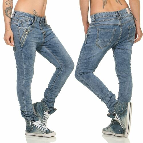 10217 Cool Femmes Boyfriend Jeans Pantalon Baggy Low-waist Boutonnage paillettes