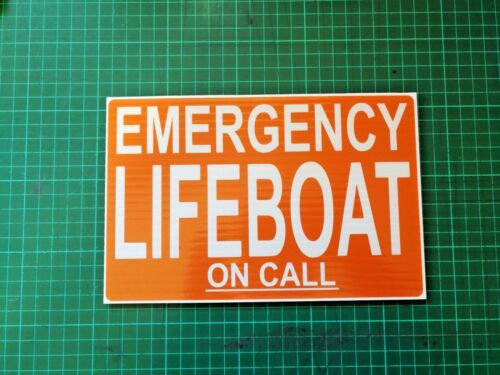 EMERGENCY LIFEBOAT on call DASHCARD COASTGUARD Rescue Search /& Rescue dash card