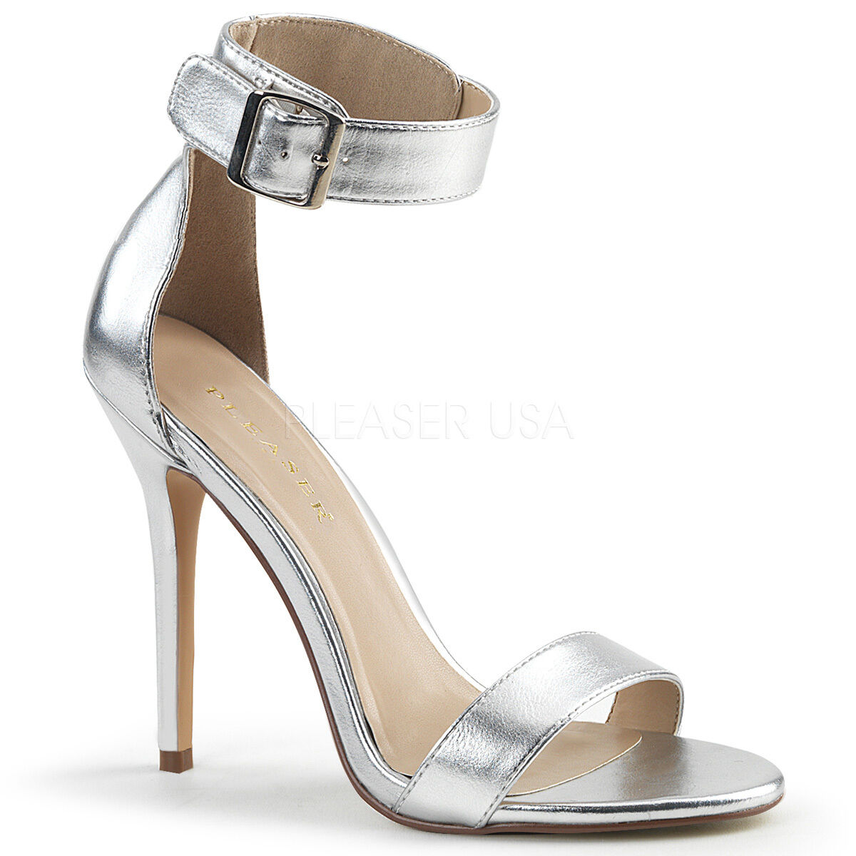 PLEASER AMU10 R Sexy 5 Heel Silver Prom Women Evening shoes Ankle Strap Sandals