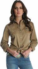 Wrangler Womens Long Sleeve Western Snap Work Shirt Size M Rawhide Tan