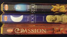 STAR Moon Passion 60 HEM Incense Sticks 3 Scent Sampler Gift Set