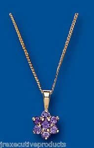 9ct Gold Real Amethyst Rounds Cluster Pendant With 18 Chain UK Made Hallmarked