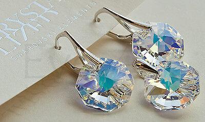 Octagon 12 925 Sterling Silver - GENUINE SWAROVSKI CRYSTAL earrings pendant SET