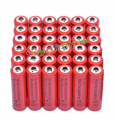 36x AA 3000mAh 1.2V Ni-MH 2A Red Color Rechargeable Battery Cell for MP3